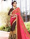 image of Embellished Function Wear Georgette Pink Half Half Saree With Lace