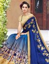 photo of Wedding Wear Blue Georgette Half Half Saree With Lace Work