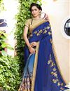 image of Wedding Wear Blue Georgette Half Half Saree With Lace Work