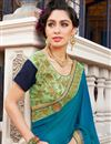 photo of Georgette And Jacquard Fancy Function Wear Teal Half Half Saree With Lace Border
