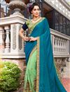 image of Georgette And Jacquard Fancy Function Wear Teal Half Half Saree With Lace Border