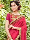 photo of Wedding Function Wear Crimson Color Embroidered Half Half Saree In Georgette