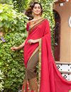 image of Wedding Function Wear Crimson Color Embroidered Half Half Saree In Georgette