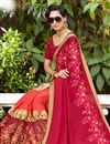 photo of Crimson Color Embellished Function Wear Georgette Half Half Saree With Lace
