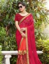 image of Crimson Color Embellished Function Wear Georgette Half Half Saree With Lace