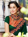photo of Georgette Dark Green Function Wear Half Half Saree With Lace Border
