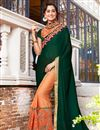 image of Georgette Dark Green Function Wear Half Half Saree With Lace Border
