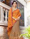 photo of Orange Chiffon And Georgette Embroidered Wedding Wear Half Half Saree With Lace