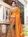 image of Orange Chiffon And Georgette Embroidered Wedding Wear Half Half Saree With Lace