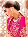 photo of Designer Party Wear Pink And Beige Color Net Lehenga Choli With Embroidery Work