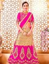 image of Designer Party Wear Pink And Beige Color Net Lehenga Choli With Embroidery Work