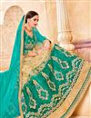 photo of Designer Party Wear Teal And Beige Color Net Lehenga Choli With Embroidery Work
