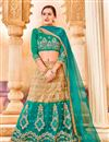 image of Designer Party Wear Teal And Beige Color Net Lehenga Choli With Embroidery Work