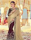 image of Beautifully Embroidered Designer Saree In Ravishing Beige And Brown Color