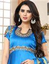 photo of Sky Blue Embellished Floor Length Anarkali Salwar Suit In Art Silk