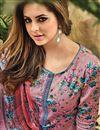photo of Digital Print Pink Straight Cut Churidar Salwar Kameez