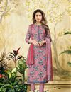 image of Digital Print Pink Straight Cut Churidar Salwar Kameez
