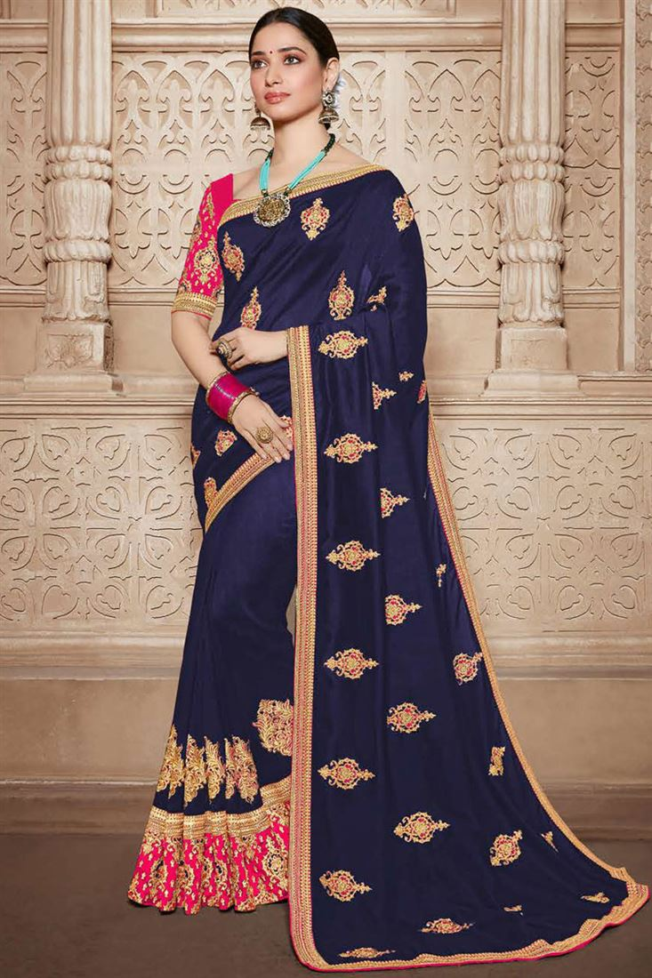 Tamannaah Bhatia Embroidery Work On Art Silk Fabric Party Wear Saree In Navy Blue Color With Beautiful Blouse