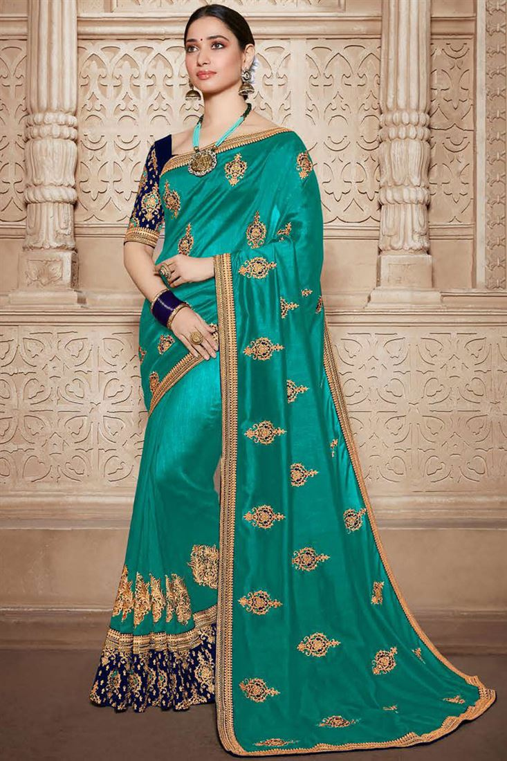 Tamannaah Bhatia Cyan Color Designer Saree In Art Silk Fabric With Embroidery Designs And Attractive Blouse