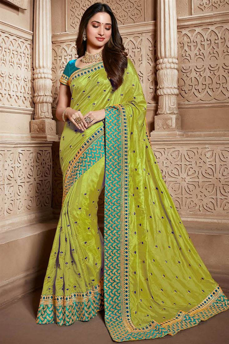 Tamannaah Bhatia Art Silk Fabric Green Color Occasion Wear Saree With Embroidery Work And Designer Blouse