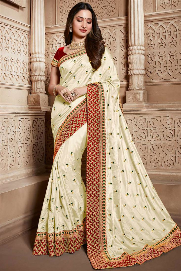Tamannaah Bhatia Function Wear Art Silk Fabric Embroidery Work On Saree In Beige Color With Alluring Blouse