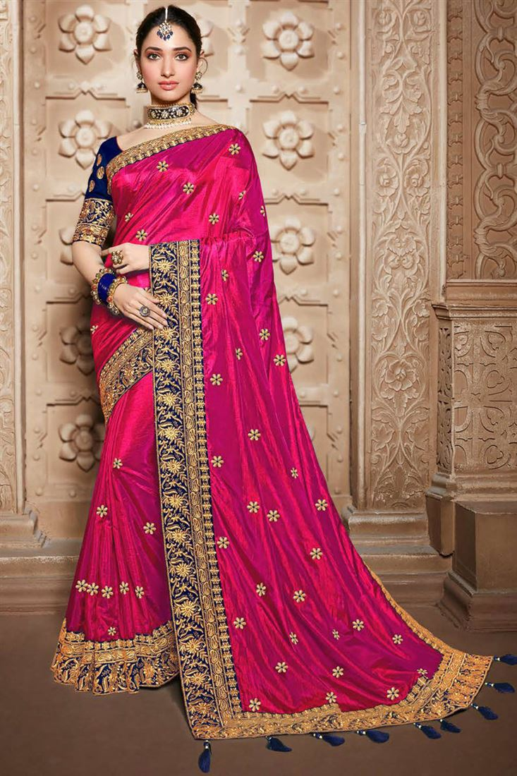 Tamannaah Bhatia Embroidery Designs On Art Silk Fabric Dark Pink Color Party Wear Saree With Mesmerizing Blouse