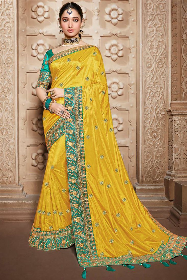 Tamannaah Bhatia Yellow Color Art Silk Fabric Designer Saree With Embroidery Work And Party Wear Blouse