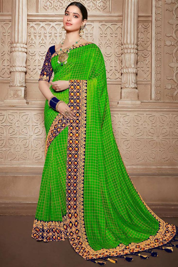 Tamannaah Bhatia Art Silk Fabric Embroidery Work On Green Color Occasion Wear Saree With Enchanting Blouse