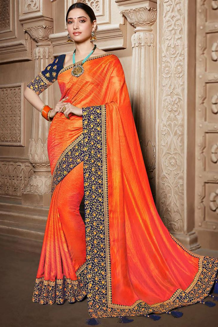 Tamannaah Bhatia Embroidery Designs On Orange Color Art Silk Fabric Party Wear Saree With Designer Blouse