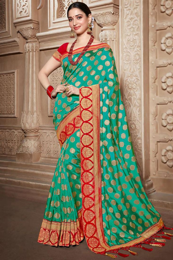 Tamannaah Bhatia Art Silk Fabric Light Turquoise Color Party Wear Saree With Embroidery Work And Charming Blouse