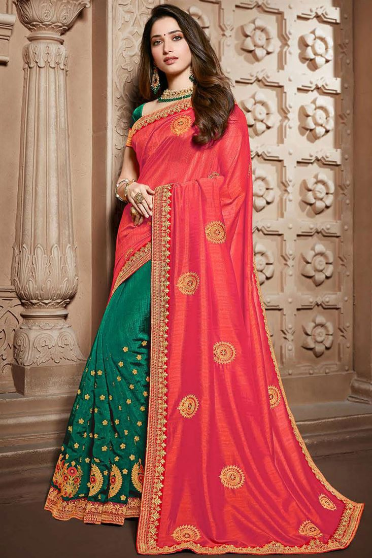 Tamannaah Bhatia Embroidery Work On Designer Saree In Art Silk Fabric Pink Color With Likable Blouse