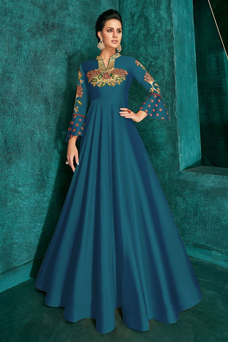 Sky Blue Color Designer Art Silk Readymade Party Wear Floor Length Gown