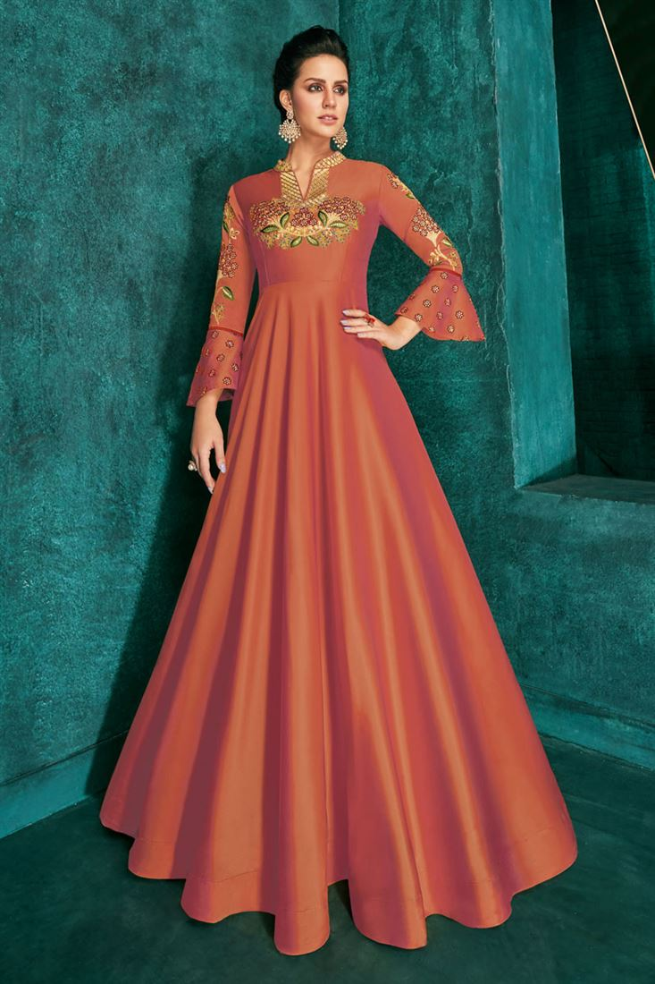 Designer Rust Color Party Wear Readymade Gown In Art Silk