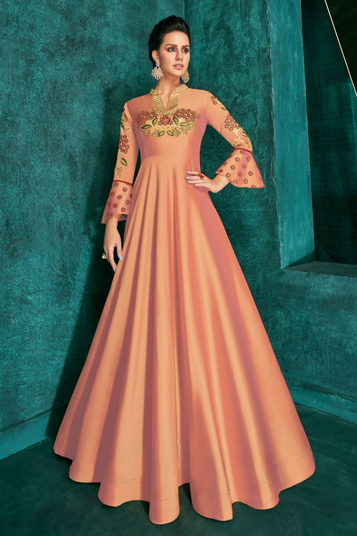 Art Silk Designer Salmon Color Readymade Party Wear Gown