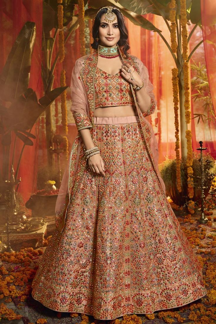 Exclusive Organza Fabric Wedding Wear 3 Piece Lehenga