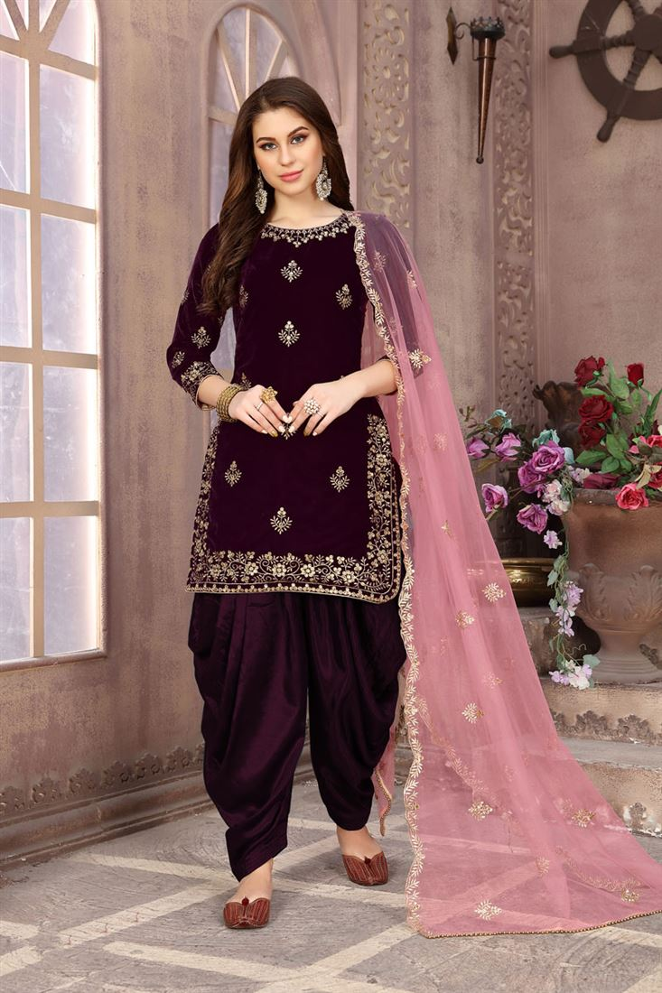 Velvet Fabric Designer Embroidered Patiala Salwar Kameez In Purple