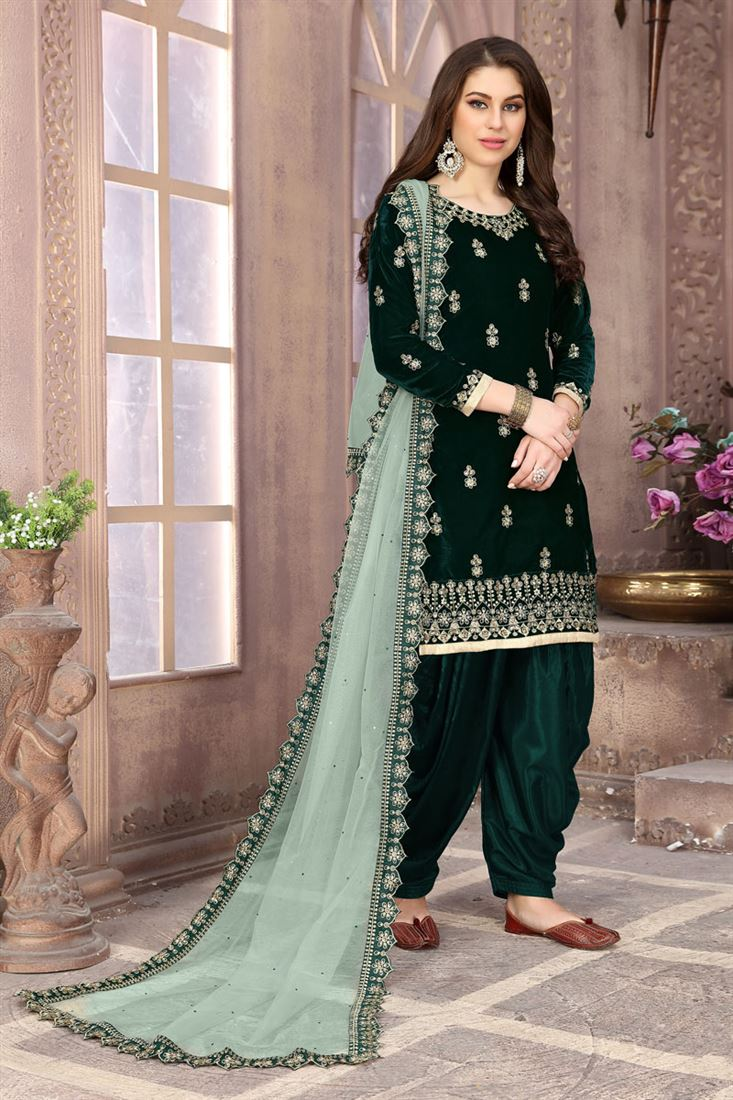 Dark Green Party Wear Patiala Salwar Suit In Velvet Fabric With Embroidery Work