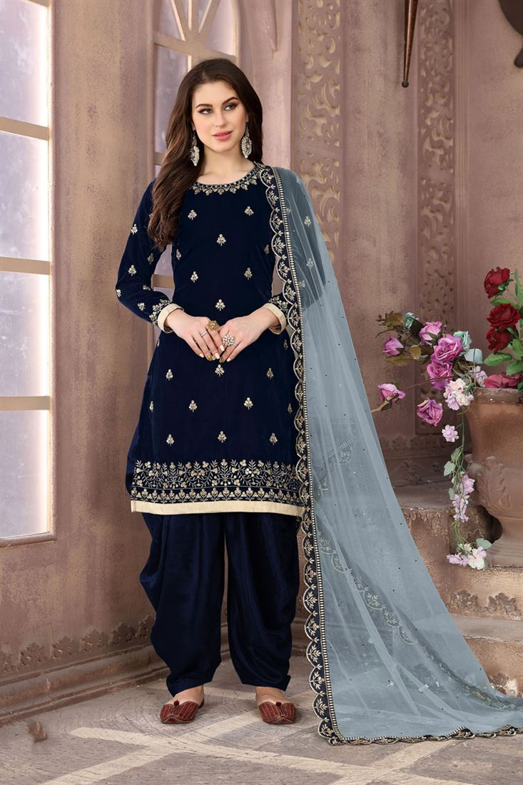 Velvet Fabric Navy Blue Occasion Wear Patiala Suit With Embroidery Work