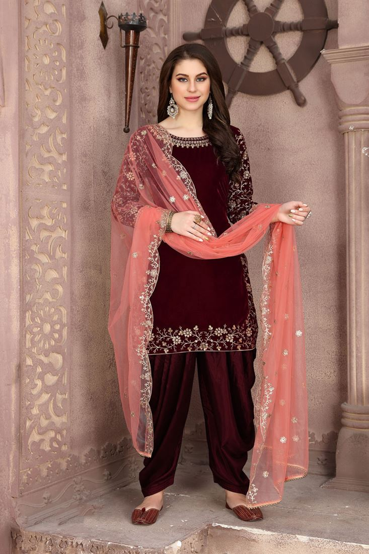 Party Wear Embroidered Patiala Suit In Maroon
