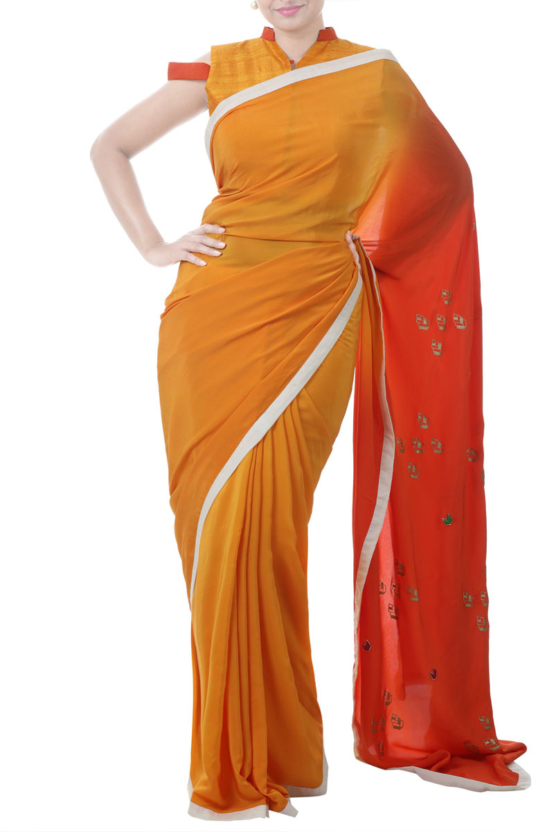 Ombre Saree With Fancy Two Coloured Cold Shoulder Blouse