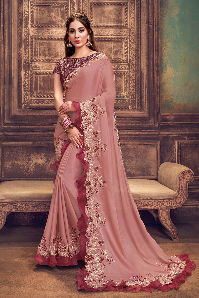Pink Color Traditional Ruffle Border Saree In Georgette Silk Fabric