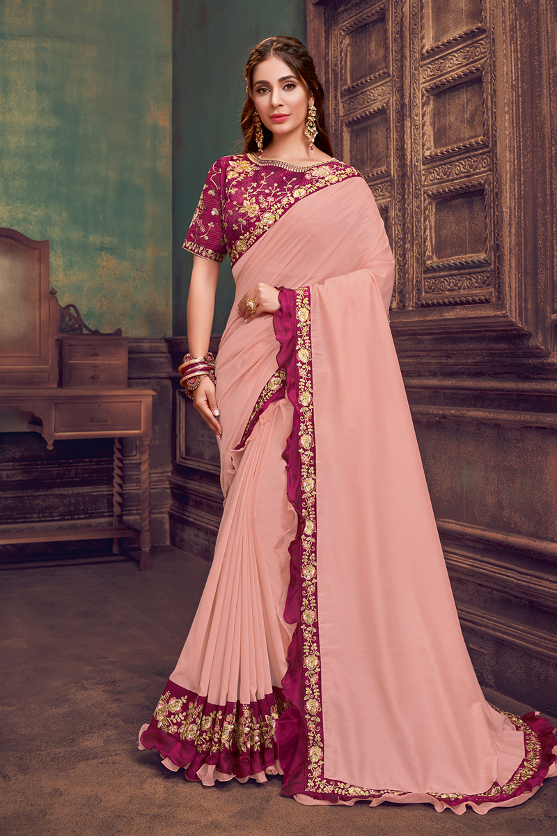 Pink Color Georgette Silk Fabric Function Wear Ruffle Border Saree