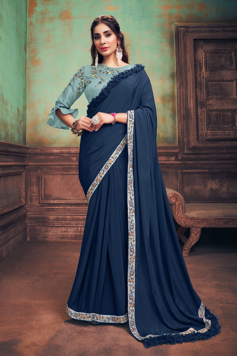 Navy Blue Color Party Wear Ruffle Border Saree In Georgette Silk Fabric