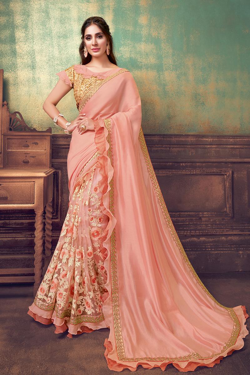 Designer Peach Color Georgette Silk And Net Fabric Party Wear Ruffle Border Saree