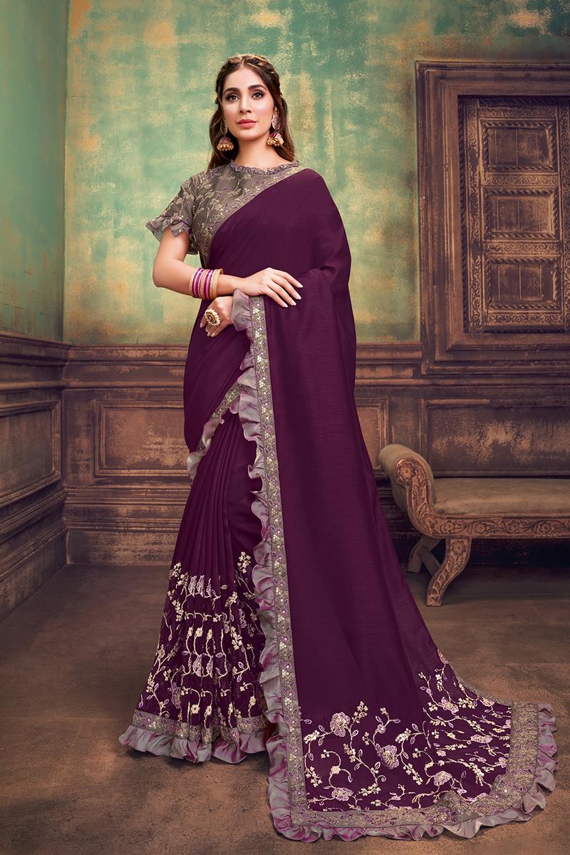 Purple Color Georgette Silk Fabric Occasion Wear Ruffle Border Saree