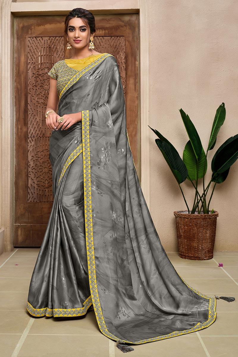 Grey Color Satin Silk Fabric Fancy Sangeet Wear Saree