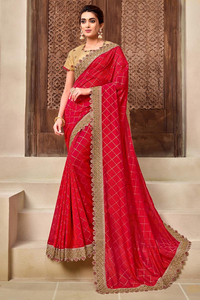 Georgette Silk Fabric Red Color Stylish Wedding Wear Saree