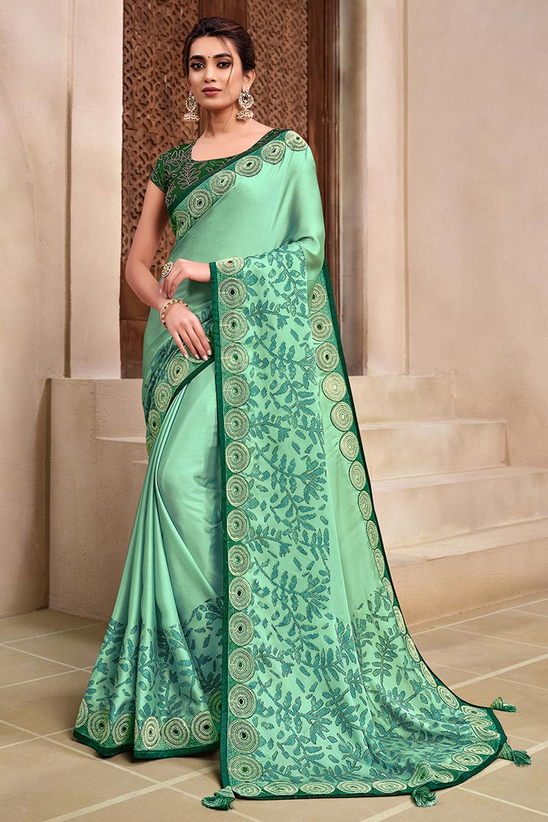 Sangeet Wear Sea Green Color Georgette Silk Fabric Designer Saree