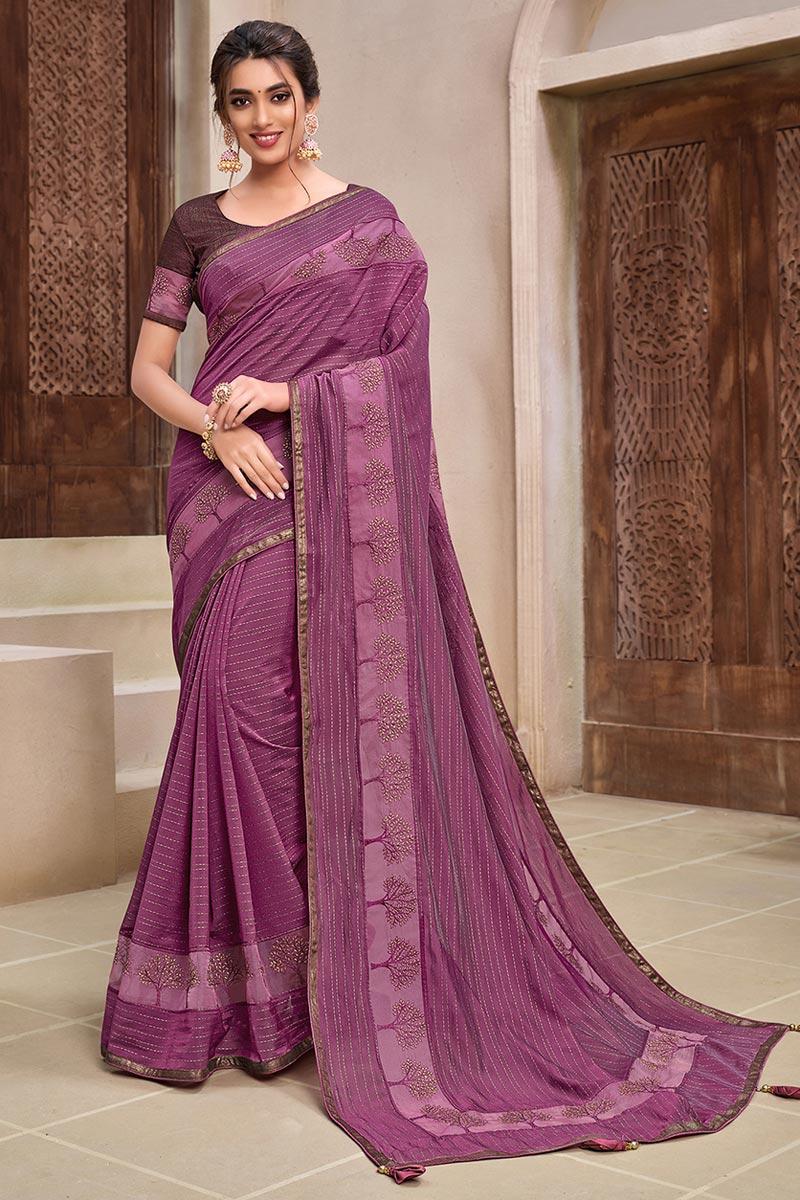 Georgette Silk Fabric Fancy Wedding Wear Saree In Pink Color