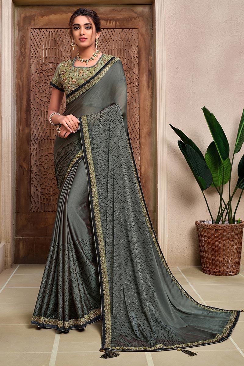 Grey Color Stylish Reception Wear Saree In Georgette Silk Fabric